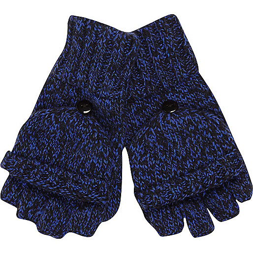 Blue twist knit mitten gloves