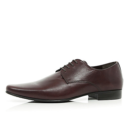 Dark red formal lace up shoes