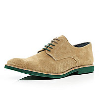 Brown contrast sole perforated shoes