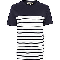 Navy contrast yoke stripe t-shirt