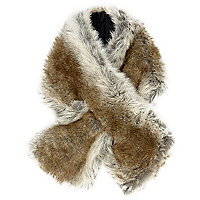 Brown faux fur scarf