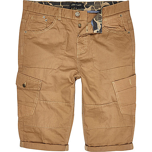 Brown roll hem cargo shorts
