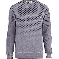 Grey burnout square print ombre sweatshirt