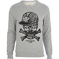Grey skull snap back print sweatshirt