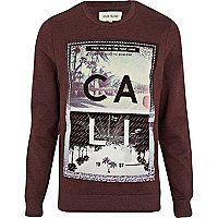 Dark red CALI print sweatshirt
