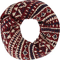 Dark red fair isle snood