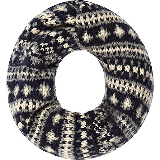 Dark grey fairisle snood