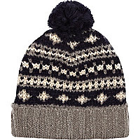 Grey fairisle bobble beanie hat