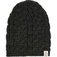 Green cable knit beanie hat