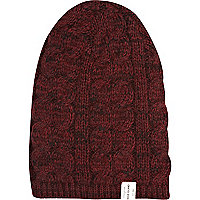 Dark red cable knit beanie hat