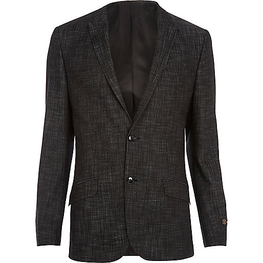 Black slub slim suit jacket