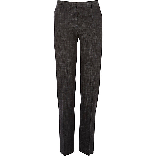 Black slub slim suit trousers
