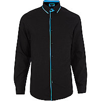 Black contrast piped long sleeve shirt