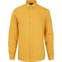 Mustard yellow long sleeve poplin shirt