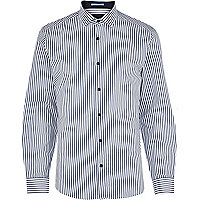 Navy and white stripe long sleeve shirt