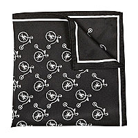 Black and white bike print handkerchief