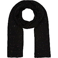 Black neppy rib scarf