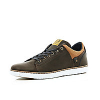 Brown lace up trainers