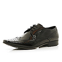 Black high shine brogues