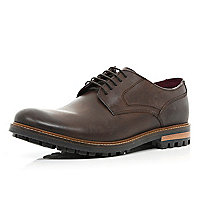 Dark brown cleated sole formal shoes