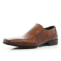 Brown square toe slip on formal shoes