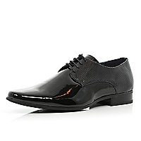 Black patent perforated panel formal shoes