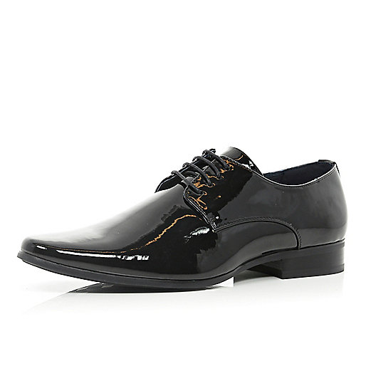 Black patent lace up formal shoes