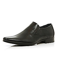 Black perforated panel slip on shoes
