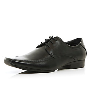 Black square toe panelled formal shoes
