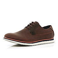 Brown trainer sole lace up shoes