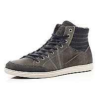 Navy blue contrast panel high tops