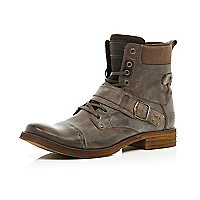 Brown contrast trim buckle military boots