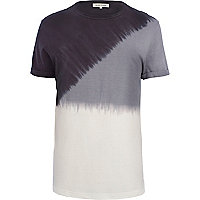 Black diagonal dip dye t-shirt