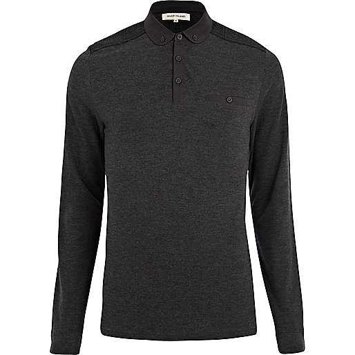 Dark grey knitted shoulder patch polo shirt