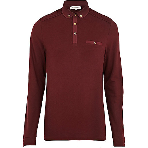 Dark red knitted shoulder patch polo shirt