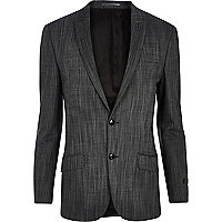 Grey slub slim suit jacket