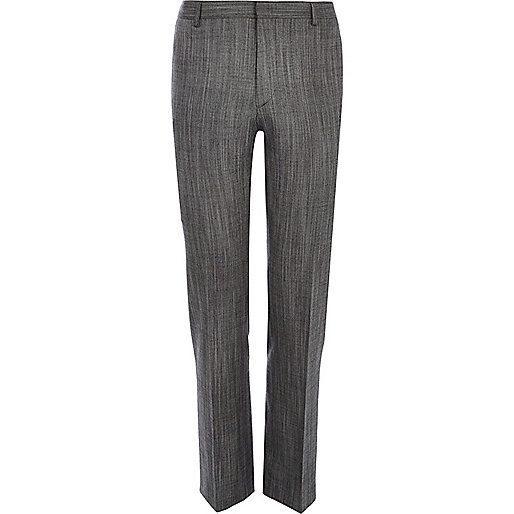 Grey slub slim suit trousers