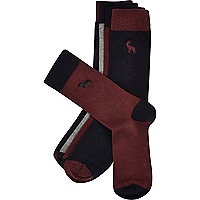 Dark red animal motif ankle socks pack