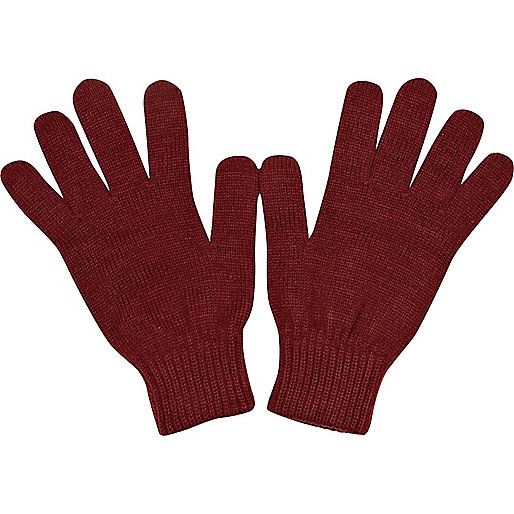 Dark red knitted gloves