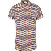 Purple tile print short sleeve shirt