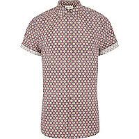 Purple tile print short sleeve shirt