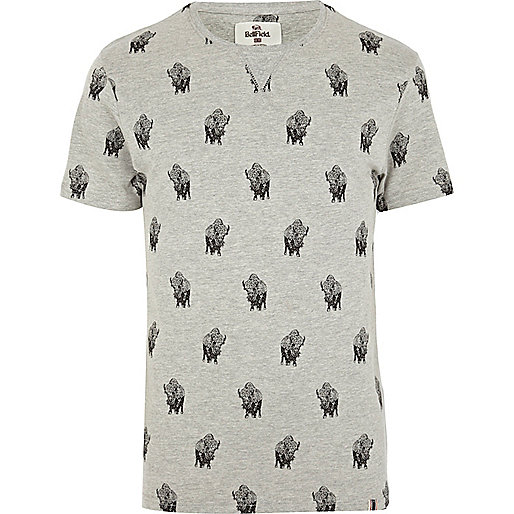 Grey Bellfield buffalo print t-shirt