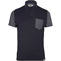Navy Bellfield denim polo shirt
