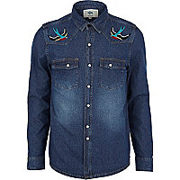 Dark wash Bellfield swallow denim shirt