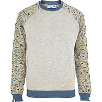 Grey Bellfield contrast sleeve sweatshirt
