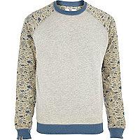 Grey Bellfield contrast sleeve sweatshirt