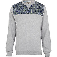 Grey Bellfield floral yoke sweatshirt