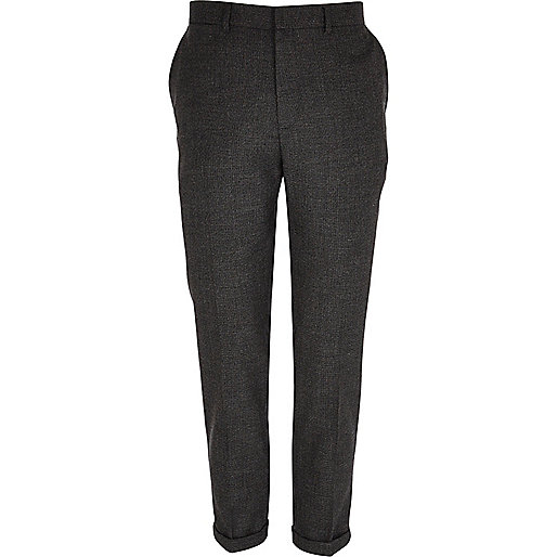 Dark grey textured slim trousers