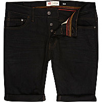 Black slim denim shorts