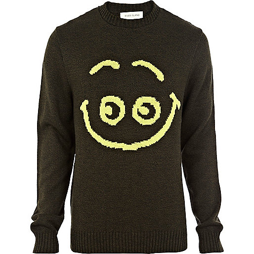 Green smiley face jumper